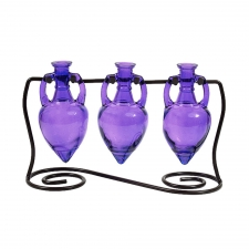 Amphora Vases with Metal Stand, Violet