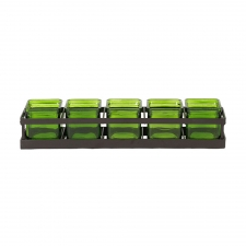 Square Jars with Metal Stand, Lime