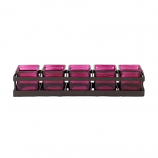 Square Jars with Metal Stand, Fuchsia