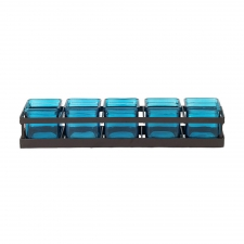 Square Jars with Metal Stand, Aqua