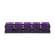 Square Jars with Metal Stand, Violet