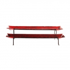 Two-Tier Platter with Metal Stand, Metallic Red