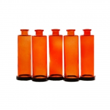 Cylindra Bottles with Metal Stand, Orange
