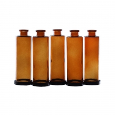Cylindra Bottles with Metal Stand, Dark Amber
