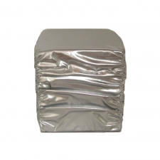 Silver Faux Leather Stool