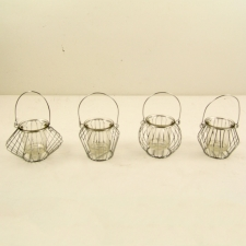 Assorted Metal Lanterns with Glass Votives, Set of 4