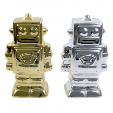 Ceramic Robot Banks, Set of 2
