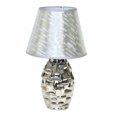 Silver Brick Table Lamp with Matching Shade