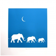 "17"" Elephant Trio Art Print"