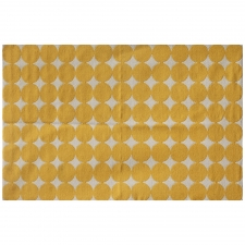 100% Wool Flatweave, Beeston Rug, White/Yellow, 5' x 8'