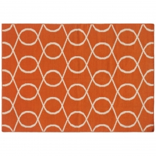 100% Wool Flatweave, Mylandsea Rug, Orange, 5' x 8'