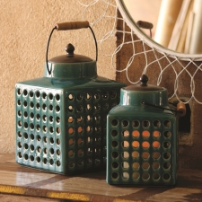 Salina Lanterns, Turquoise, Set of 2 made by Charming Rustic Accents.