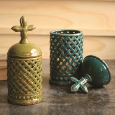 Ellis Lanterns, Chartreuse/Turquoise, Set of 2 made by Charming Rustic Accents.