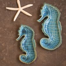 Seahorse Platters, Aqua, Set of 2 made by Charming Rustic Accents.