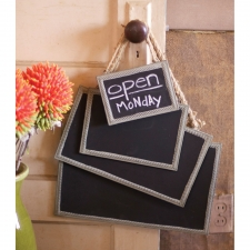 Framed Chalkboards with Jute Hangers, Set of 4