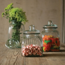 Square Glass Canisters, Set of 3