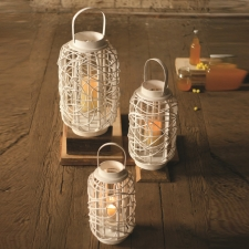 Rattan Lanterns, White, Set of 3 made by Charming Rustic Accents.