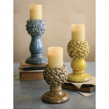 Ceramic Floral Candle Holders, Set of 3