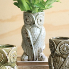 Ceramic Owl Vase, Grey