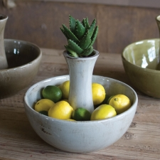 Ceramic Centerpiece Bowl, Grey