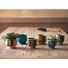 Numbered Ceramic Pots, Set of 6