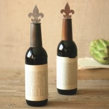 Metal Fleur De Lis Wine Topper made by Charming Rustic Accents.