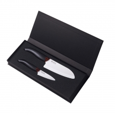 Ceramic Santoku Knife & Paring Knife, Black
