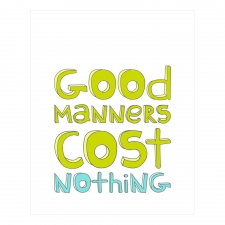 Good Manners Print, Lime/Blue