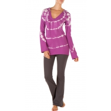 Tie Dye Long Sleeve Hoodie, Striking Purple - S