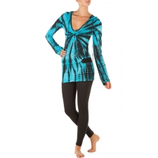 Tie Dye Long Sleeve Hoodie, Electric Blue - S