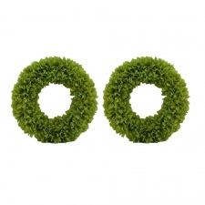 "16"" Set of 2 Spokane Fluffy Wreaths, Green"