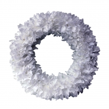 "16"" Set of 2  Spokane Fluffy Wreaths, White"