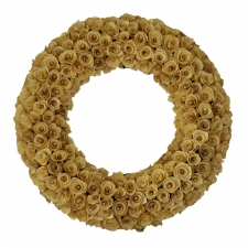 "20"" Sapulpa Ivory Wood Curl Wreath"