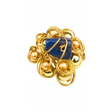 Wire Lapis Flower Ring