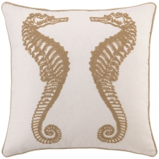 "18"" Seahorse Embroidered Pillow"