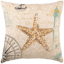 "16"" Sea Star Embroidered Pillow"