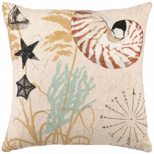 "16"" Nautilus Embroidered Pillow"