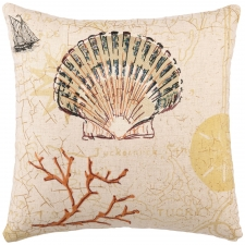 "16"" Scallop Embroidered Pillow"
