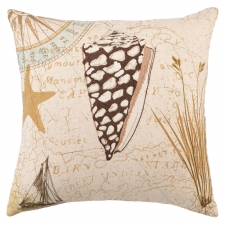 "16"" Sea Shell Embroidered Pillow"