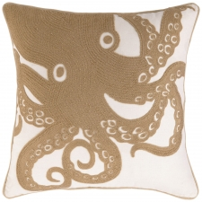 "18"" Octopus Embroidered Pillow"