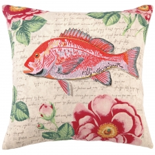 "18"" Red Tropical Snapper Pillow"