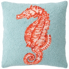 "16"" Orange Seahorse Hook Pillow"