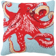 "18"" Red Octopus Hook Pillow"