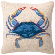 "16"" Blue Crab Hook Pillow"