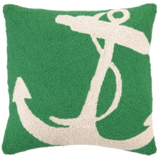"18"" Green Anchor Hook Pillow"