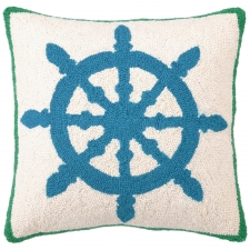 "18"" Blue Wheel Hook Pillow"