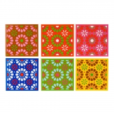 Ceramic Flower Coasters, Set of 6