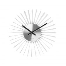 Shiny Sunburst Clock, Silver