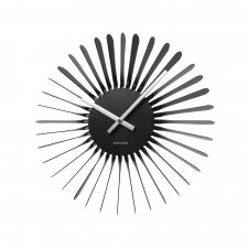 Shiny Sunburst Clock, Black