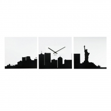 NYC City View Clock, Black/White